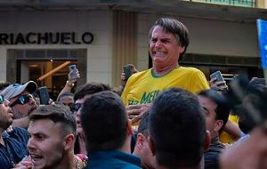"Bolsonaro accused PT (of ex president Lula da Silva) of promoting class division, and ""they accuse me of feeding hatred, but how come who was stabbed was me"""