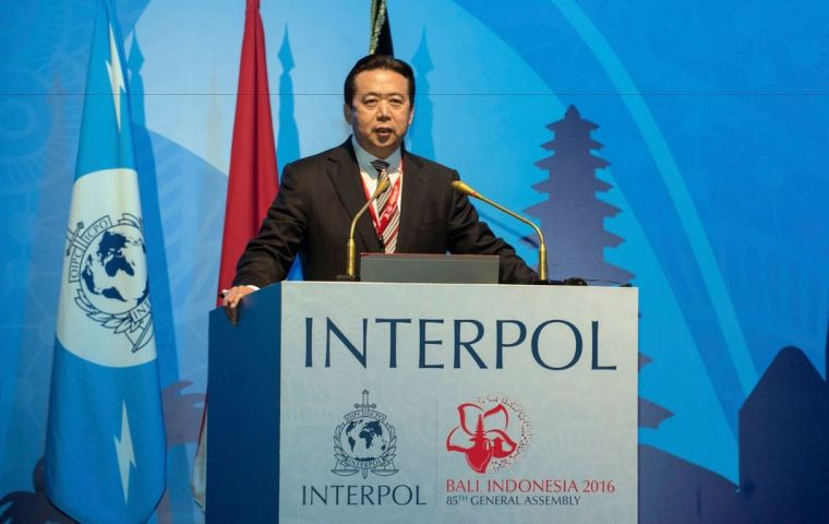 The French Interior ministry said Interpol chief Meng Hongwei left Lyon, where Interpol is based, and arrived in China at the end of September