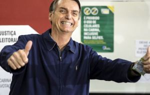 """For someone with no TV time, a small party, no political funds and who has been hospitalized for 30 days, this is a great victory,"" proclaimed Bolsonaro"