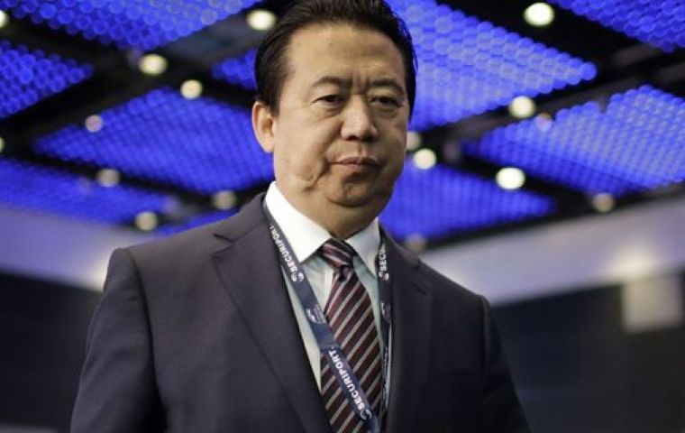 """Today, Sunday 7 October, the Interpol General Secretariat in Lyon, received the resignation of Mr Meng Hongwei as president of Interpol with immediate effect."""
