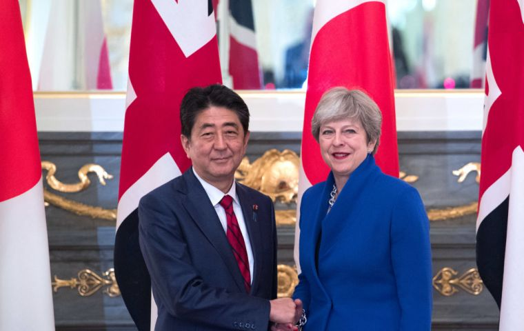"Japanese PM Abe said the UK would lose its role as a gateway to the EU after Brexit, but would still be a country ""equipped with global strength""."