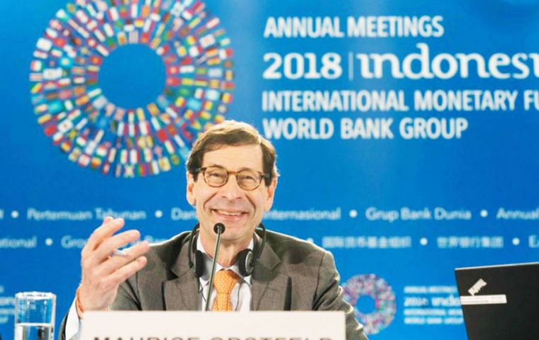 "IMF chief economist Maurice Obstfeld said at the launch of its World Economic Outlook that due to recent developments, the past projection was ""over-optimistic"""
