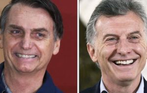 In one of Bolsonaro's first major statements about the region, the controversial candidate also had words of praise for Argentine President Mauricio Macri.