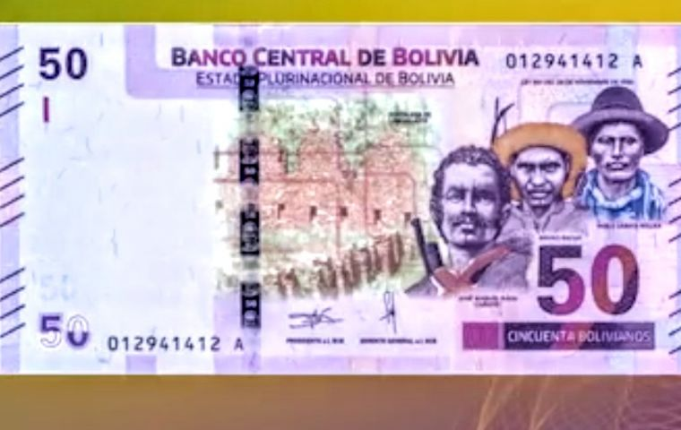 "The historical characters found on the new Bs 50 note are José Manuel Baca ""Cañoto,"" Pablo Zárate Willka and the Tacana Indian Bruno Racua."