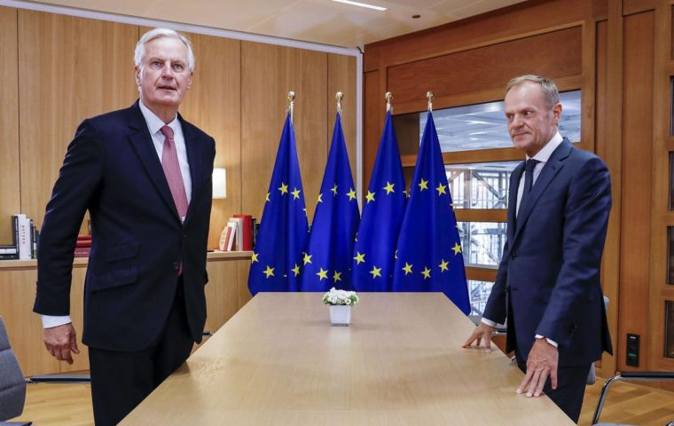 Foreign ministers from the remaining 27 EU states were receiving a briefing from chief Brexit negotiator Michel Barnier at the General Affairs Council