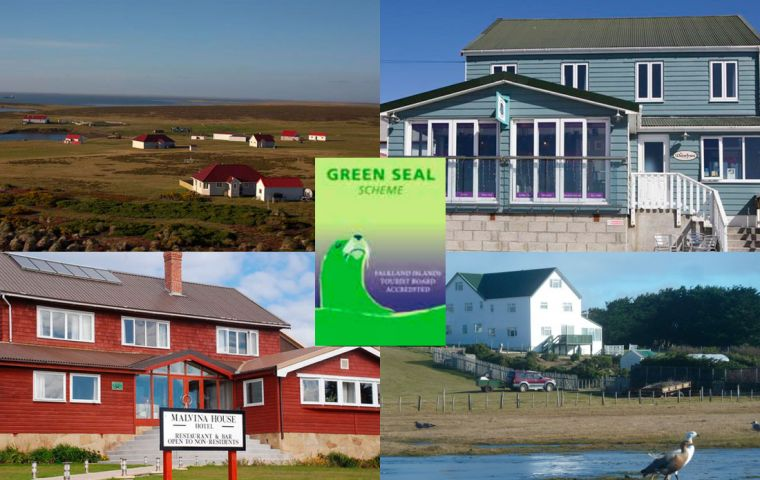 On top Bleaker Island, Waterfront Boutique Hotel; below Malvina House Hotel and Pebble Island Lodge  some of the establishments awarded Green Seal status