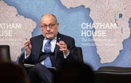 Foreign Minister Jorge Faurie, during the first seminar on Latin America hosted by Chatham House (The Royal Institute of International Affairs)