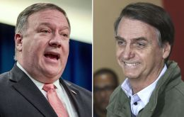 "Secretary of State Mike Pompeo discussed ""priority foreign policy issues including Venezuela"" with Bolsonaro."