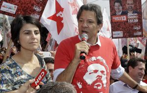 Fernando Haddad and Manuela Davila, the defeated PT presidential ticket in Brazil