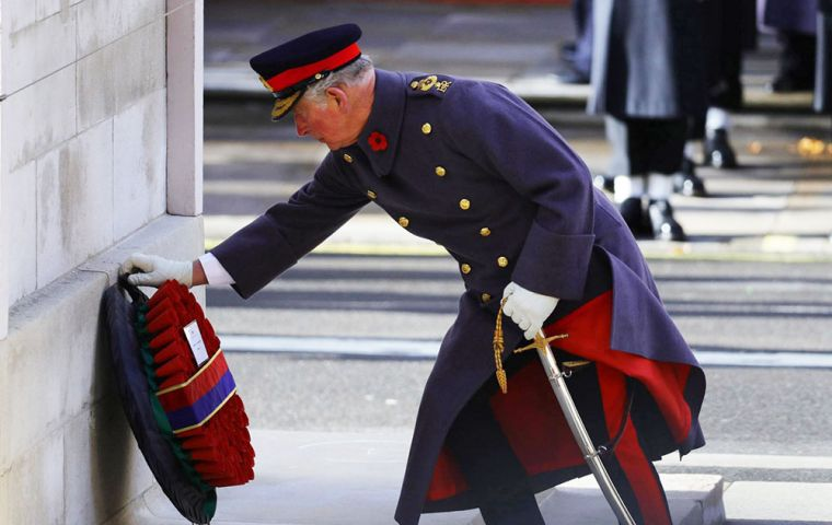 His Royal Highness The Prince of Wales laid a wreath on behalf of Her Majesty The Queen and an Equerry on behalf of The Duke of Edinburgh (Pic MOD)