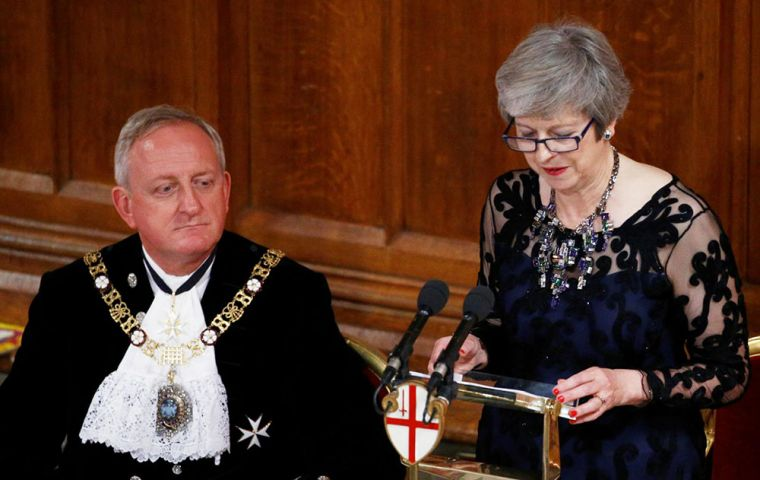 "At the Lord Mayor's Banquet in the City of London, Mrs. May said the talks were ""immensely difficult"", but the sides were working ""through the night"" (Pic Reuters)"