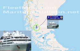 Le Soleal is anchored some 12 kilometers from Puerto Natales and on Friday a tug is expected to take her for repairs