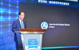 During his speech, Cai raised three proposals on the enhancement of China-LAC media cooperation.(Pic Spanish-Xinhuanet.com) i