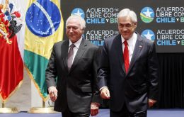 Brazil President Michel Temer traveled to Santiago to sign the deal with his counterpart, Chilean President Sebastian Pinera