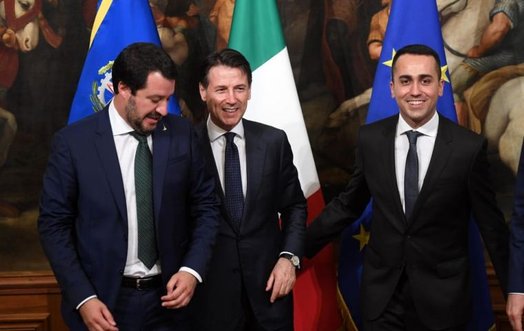 PM Giuseppe Conte with deputies Matteo Salvini and Luigi Di Maio on Monday, said the objectives for 2019 had already been fixed
