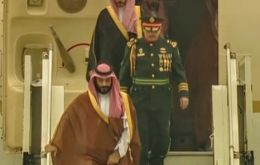 Prince Mohammed Bin Salman gets off his airplane at Buenos Aires' Ezeiza airport.