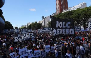 Demonstrators blocked a part of Buenos Aires' main thoroughfare, Avenida 9 de Julio, on Wednesday in protest of subsidy cuts and other austerity measures