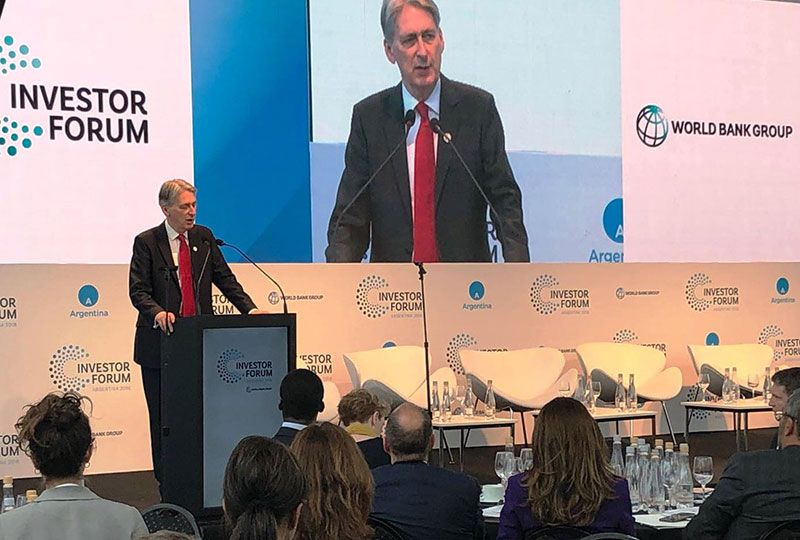 Britain's Finance Minister Philip Hammond arrived Thursday morning and has already participated in a forum in downtown Buenos Aires