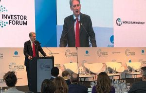Britain's Finance Minister Philip Hammond arrived Thursday morning and has already participated in a forum in downtown Buenos Aires.