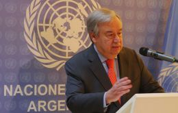 The UN Secretary-General, António Guterres, addresses the media at the G20 summit in Buenos Aires, Argentina on 29 November, 2018.