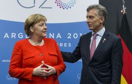 The German Chancellor Angela Merkel during her meeting with President Macri
