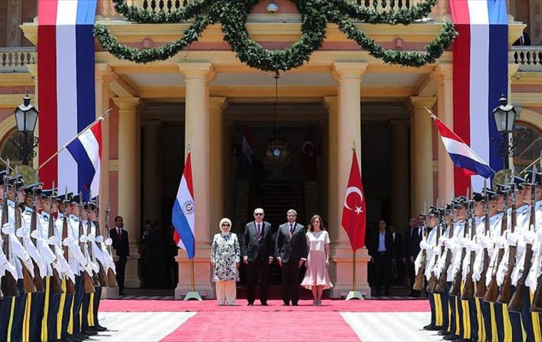 Erdogan's one-day stopover at Asunción from the G-20 Summit was the first visit ever by a Turkish head of state.