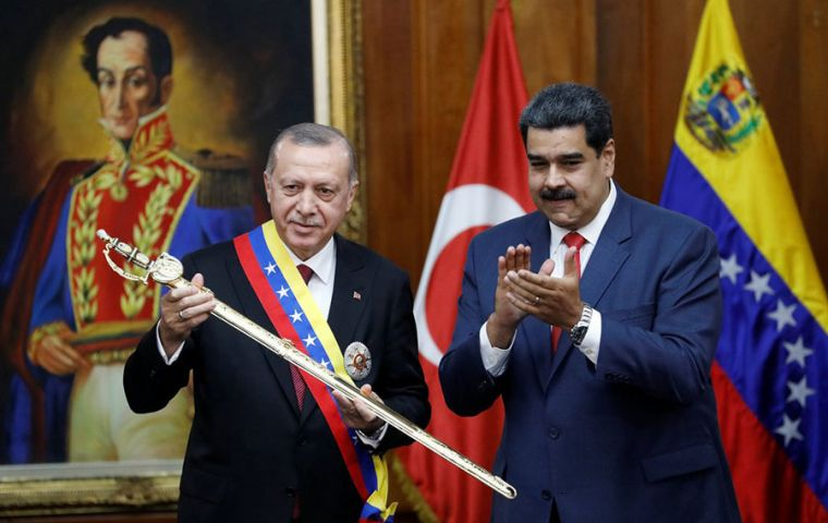 Turkish leader Recep Tayyip Erdogan condemned the economic sanctions that Maduro faces since 2017.