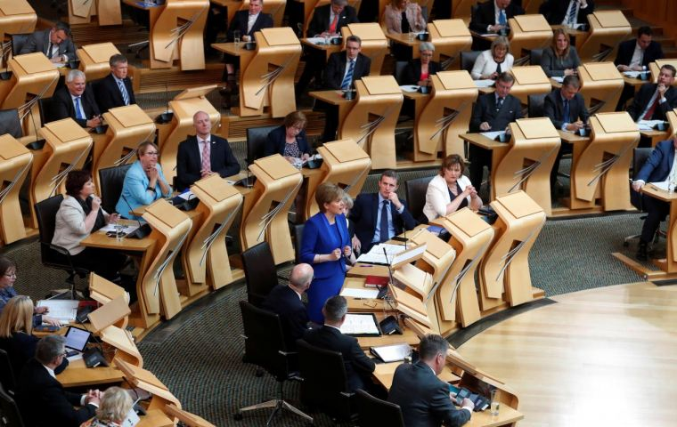 SNP, Labour, Green and Lib Dem members at Holyrood backed a motion rejecting the proposals, as well as the prospect of leaving without any deal