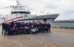 F/VArgos Cies Captain and Crew pose at FIPASS with some of the Argos Group shareholders  (Pic Ian Stewart)