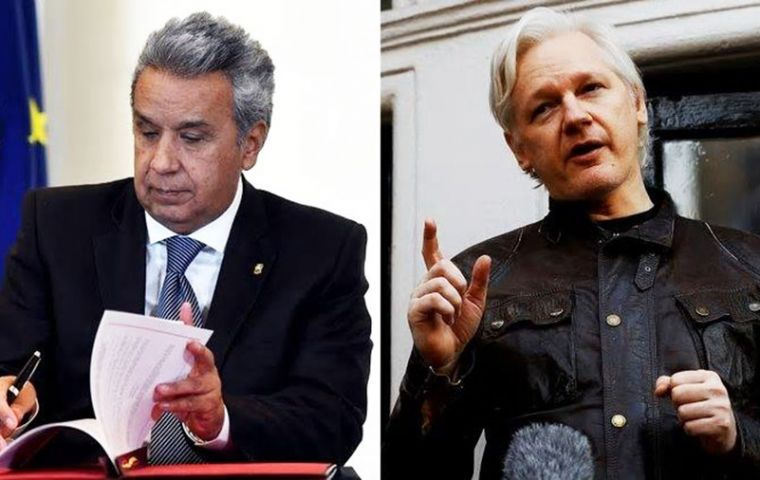 """The way is here for Mr. Assange to make the decision to go out to almost freedom,"" Moreno said."