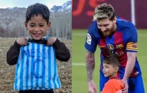 The picture (left) went viral and the dream of meeting Messi came true (right) in 2016.