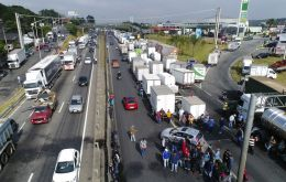 The blockade on Brazil's BR-116 was causing back-ups of two km (1.5 miles) in both directions on Monday morning, according to the federal highway police.