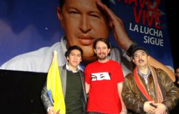 Pablo Iglesias in an act in homage to Hugo Chavez in 2015