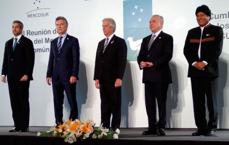 Before passing the group's rotating presidency over to Argentina, Vázquez and his colleagues took a minute to bid farewell to Michel Temer in his last Mercosur appearance