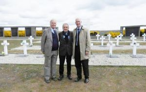 A recent picture of Eurnekian (C) during his visit to the Argentine military cemetery at Darwin in the Falklands
