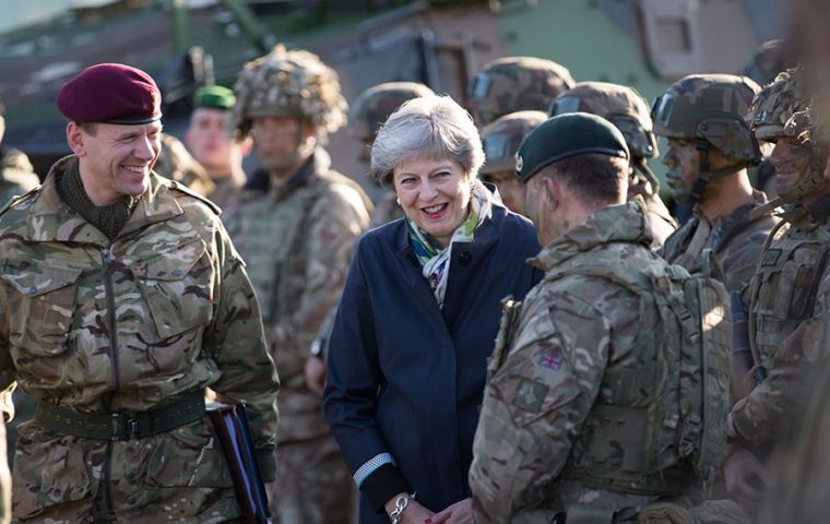 "Mrs. May said the Armed Forces had played a ""vital role"" in cleaning up the Novichok attack, and protecting UK's waters and skies from Russian intrusion"
