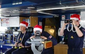 HMS Clyde crew will take a morning dip at Bertha's Beach, even when the water is colder than Portsmouth, and later will celebrate with a Christmas barbecue