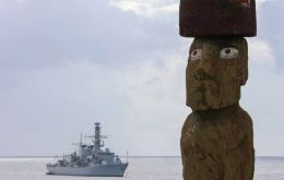 The warship arrived off Easter Island with all on board given the once-in-a-lifetime chance to go ashore and see first the ancient statues, known as Moai, at Ahu Tongariki (Pic RN)