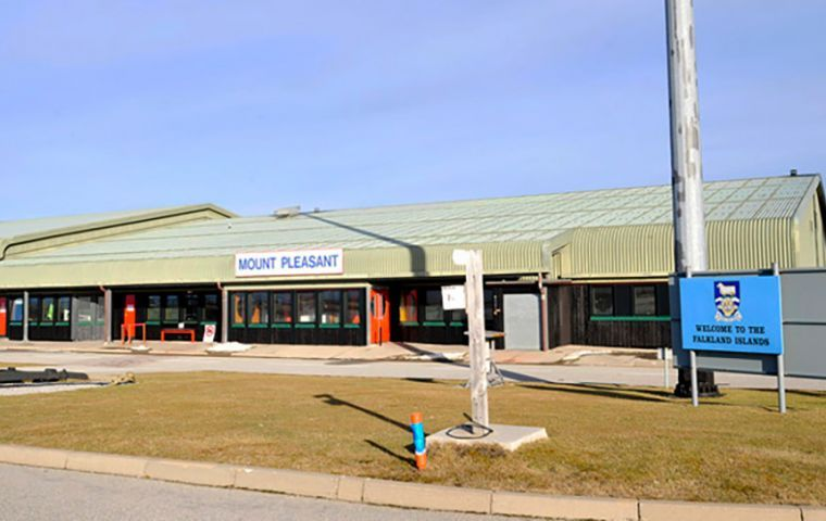 Mount Pleasant Airport which receives the weekly flight from Punta Arenas and the air link from Brize Norton in UK