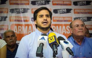 Opposition lawmaker Armando Armas blasted the Uruguayan government for not condemning the Maduro regime