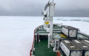 The bow of the pushing S. A. Agulhas II up against the ice shelf
