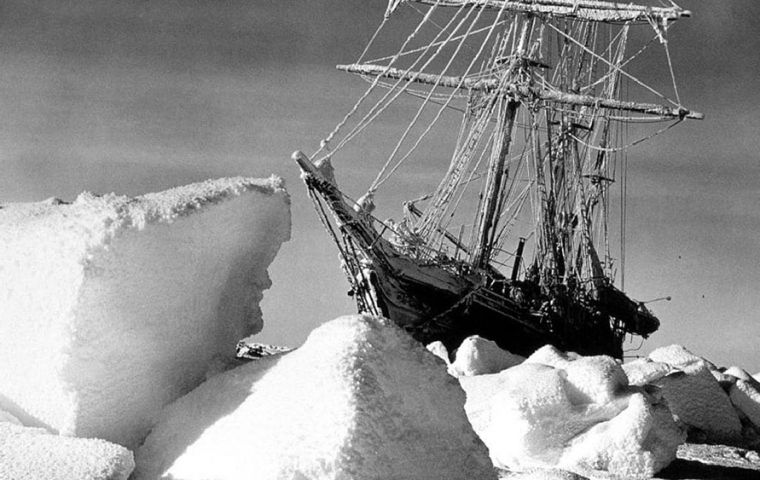The Endurance encased in ice. In the end she was crushed and her stern rose twenty feet into the air, paused momentarily and then in one gulp was gone.