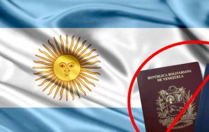 It has also suspended exemption of visas for diplomatic and official passports, and bans access to Argentina of all high level members of the Venezuelan regime