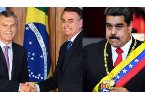 Bolsonaro and Macri consider Maduro's regime out right illegitimate, and only recognize the president of the elected National Assembly