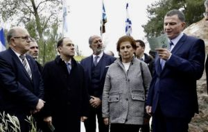 Nisman's mother Sara Garfunkel at the ceremony to honor the deceased prosecutor at Argentina-Israel Friendship Park, where an olive tree was planted