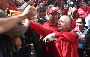 "Any Venezuelan who is calling for an intervention ""should be treated as an enemy and we must apply all the actions and forms that we apply to enemies,"" said Cabello."