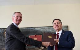 Ambassador to Chile Jamie Bowden and Chilean Foreign Minister Roberto Ampuero stamped the agreement