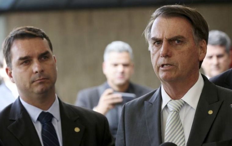 Bolsonaro's son Flávio has been caught up in an investigation into corruption at Rio de Janeiro's state assembly, where he served before being elected senator last year