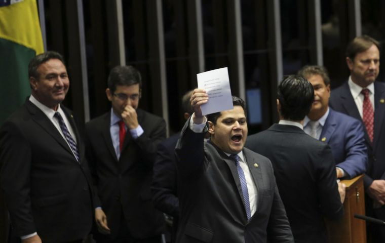 Alcolumbre, 41, a freeshman Senator won by one vote after a tumultuous debate that lasted more than 24 hours and saw front-runner Renan Calheiros step down