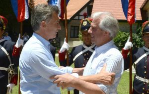 Vazquez and Macri met at the Uruguayan presidential residence in Colonia